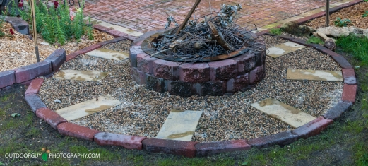 Fire pit in backyard finished.